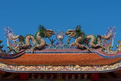 The roof of the old Chinese temple. The roof of the old Chinese temple in Thailand royalty free stock photography