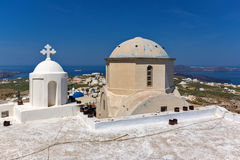 Roof of Old Church in the castle of Pyrgos Kallistis, Santorini island, Thira, Greece Stock Image