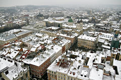 Roof of the old city in the winter in Lviv top view stock photo