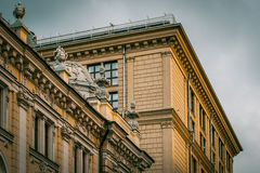 Roof of the  old house with elements of decor Stock Images