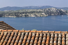 Roof of an old house in sibenik Stock Photography