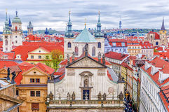 The roof of old Prague. St Salvator Church.  Royalty Free Stock Images