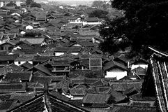 Roof of old town. Bird view of the old town of lijiang in yunnan province in china. world culture heritage Stock Photo