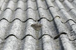Roof. Old unhealthy fiber asbestos home roof royalty free stock image