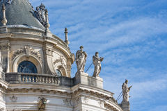 Roof with ornaments and statues Palace Versailles near Paris, France Royalty Free Stock Photo