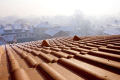 Roof over Bansko ski-center in Bulgaria Stock Images