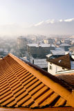 Roof over Bansko ski-center in Bulgaria Royalty Free Stock Image