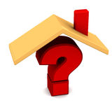 Roof over question mark. Question mark with roof over it, on white background. question of who will occupy a home or house building or which house to select Royalty Free Stock Photography