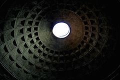 Roof of the pantheon in Rome with a hole Stock Image
