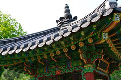 The roof and part of the gazebo. In Korean style with beautiful patterns Stock Images