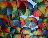 Umbrellas. Used to form the roof of cafes in Pasaj Victoriei, Bucharest, Romania royalty free stock photography