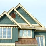 Roof Peaks House Home. Roof gables on a designer house in British Columbia, Canada stock photo