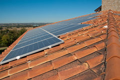 Roof with photovoltaic panels Royalty Free Stock Photo