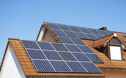 Roof With Photovoltaic System Stock Photo