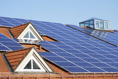 Roof With Photovoltaic System Royalty Free Stock Images