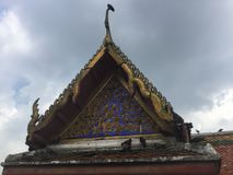 Roof of Pier entrance to Kanlayanamit Temple in Bangkok Thailand. True friend temple Wat Kalayanamit Varamahavihara is a Buddhist temple in Bangkok, Thailand Stock Images