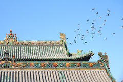 Roof and pigeons Royalty Free Stock Photography