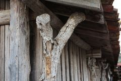 Roof pillar. Close up of a roof pillar in a tradicional salt mine village located in Rio Maior - Portugal Stock Photo