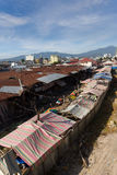 Roof of poor houses by the river Stock Images