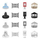 Roof, protection, park and other web icon in cartoon style.Wooden, recreation, entertainment icons in set collection. Stock Photos