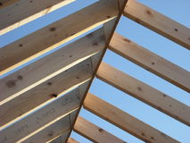 Roof Rafters. Joining ridge board in house construction Royalty Free Stock Photography