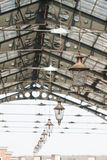 Roof of railway station. With old-fashioned lanterns Stock Photos