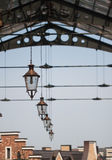 Roof of railway station. With old-fashioned lanterns Royalty Free Stock Image