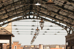Roof of railway station. With old-fashioned lanterns Stock Images
