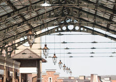 Roof of railway station. With old-fashioned lanterns Stock Photography