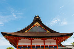 Roof of red shrine. With clear blue sky as background in Japan stock photos