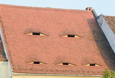 Roof red tiles with eye windows, abstract, texture outdoor Stock Image