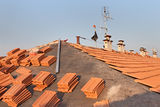 Roof renovation. Installation of tar paper, new tiles, chimney and tv antenna Stock Photography