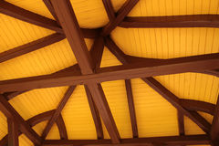 Roof ridge and rafters. Interior view of a pitched timber roof showing the ridge, rafters and sheathing royalty free stock images