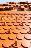 A roof with roof tiles Royalty Free Stock Images