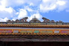 Roof of the royal palace in Hue, Vietnam Stock Photos