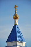 Roof of Russian church with gold dome Stock Photos