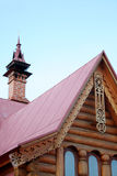 Roof of russian ethnic home. With carved ornaments Royalty Free Stock Image
