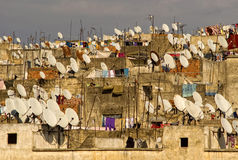 Roof satellites. Satellites on the roofs of an ancient city of Fes stock photos