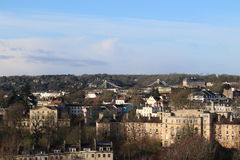Roof-scape of The City of Bristol with  Clifton Suspension Bridge in the background. View across the sky-line of Bristol on a sunny winter day with with Brunel's Stock Images