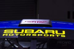 Roof scoop on a 2019 Subaru WRX STI stock image