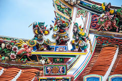 Roof sculptures of chinese Temple in Malacca Stock Photography