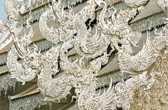 Roof sculptures of Wat Rong Khun. Thailand royalty free stock photography