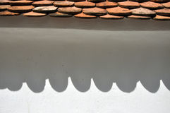 Roof shadow on a white wall Royalty Free Stock Photo