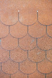Roof shingle. Detail of roof shingle on exhibition stand at construction fair Stock Images