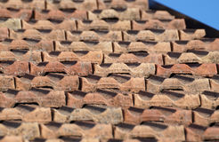 Roof with shingles. Detail of the roof with shingles stock photography
