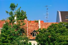 Roof of shingles. royalty free stock photography