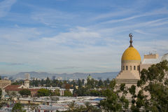 Roof of Shrine Auditorium and Expo Hall. Los Angeles, DEC 9: Roof of Shrine Auditorium and Expo Hall on DEC 9, 2016 at Los Angeles royalty free stock image