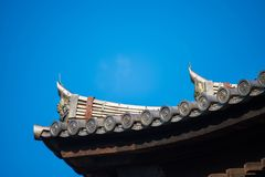 The roof of the shrine in Japan stock images