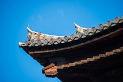 The roof of the shrine in Japan. Building stock photos