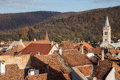 Roof of sighisoara, romania. Looking down on the roofs of sighisoara, romania royalty free stock photos
